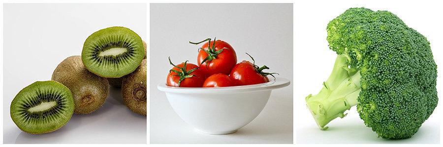 antioxidanti - vitamina c - kiwi, rosii, brocoli