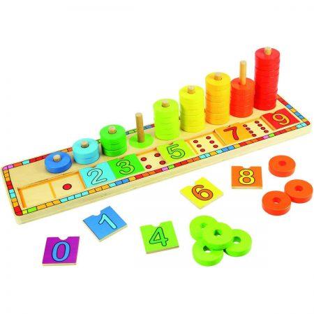 Numărătoare cu discuri colorate - jucării de lemn - jucării din lemn pentru copii -