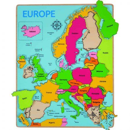Puzzle incastru Europa - jucării de lemn - jucării din lemn pentru copii -