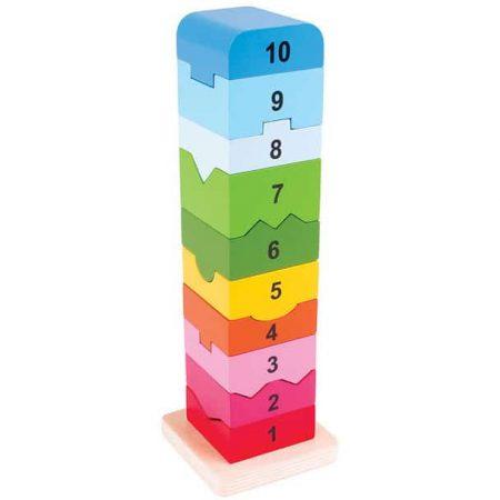 Turnuleţ cu numere - jucării de lemn - jucării din lemn pentru copii -