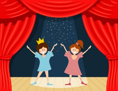 Abstract children's theater. Little girls on the stage of the theater. The play in the<br /> kindergarten. Vector illustration