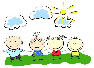 happy kids simple drawing