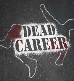 A chalk outline of a dead body symbolizing a career that has stalled due to being obsolete, demoted or obsolete