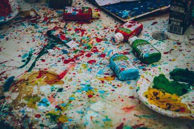 paint bottles splash colours