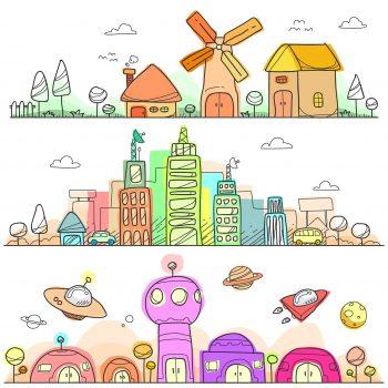 evolution city landscapes doodle