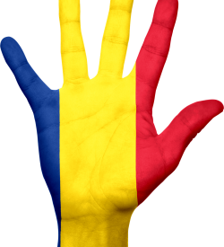 Romanian flag painted on hand
